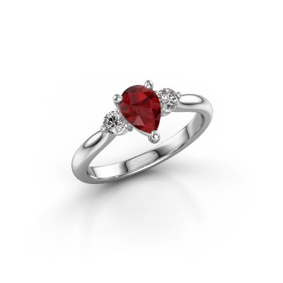 Picture of Engagement ring Lieselot PER 585 white gold ruby 7x5 mm