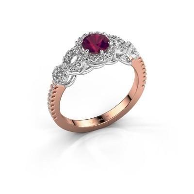 Engagement ring Sasja 585 rose gold rhodolite 5 mm