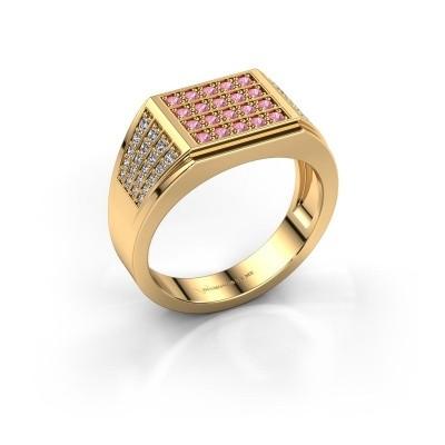 Foto van Heren ring Tim 375 goud roze saffier 1.5 mm