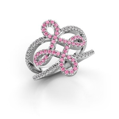 Foto van Ring Chantay 585 witgoud roze saffier 1.2 mm
