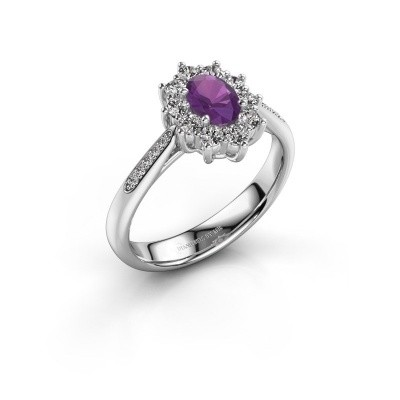 Picture of Engagement ring Leesa 2 925 silver amethyst 6x4 mm