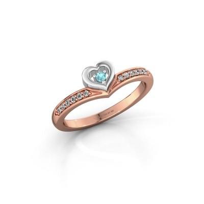 Ring Mimi 585 rosé goud blauw topaas 2 mm