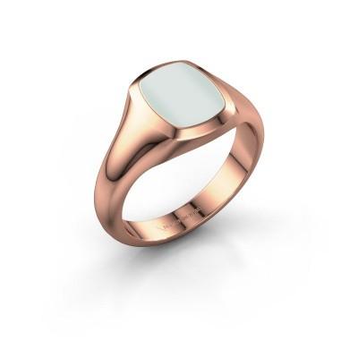 Signet ring Zelda 1 375 rose gold green sardonyx 10x8 mm