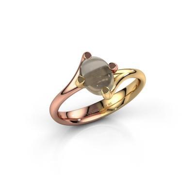 Ring Nora 585 rosé goud rookkwarts 8x6 mm