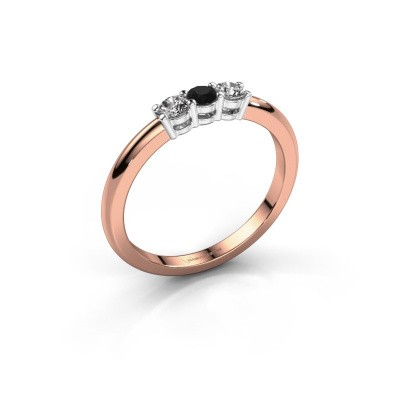 Foto van Verlovingsring Michelle 3 585 rosé goud zwarte diamant 0.32 crt