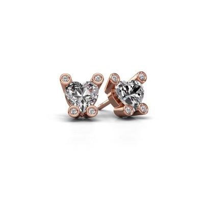 Oorstekers Cornelia Heart 375 rosé goud lab-grown diamant 1.64 crt