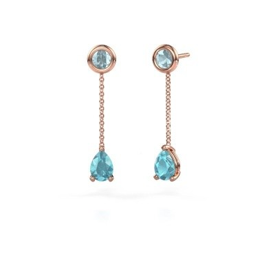 Picture of Drop earrings Laurie 3 375 rose gold blue topaz 7x5 mm