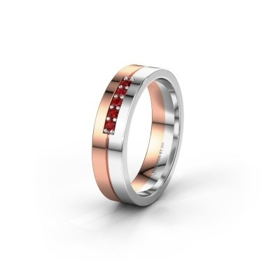 Wedding ring WH0211L15AP 585 rose gold ruby ±0.20x0.07 in