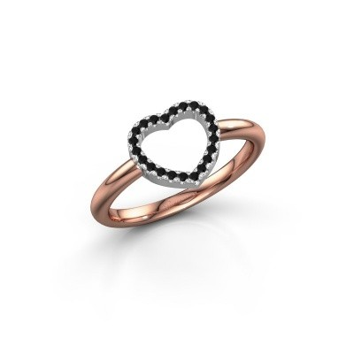 Foto van Ring Heart 7 585 rosé goud zwarte diamant 0.132 crt