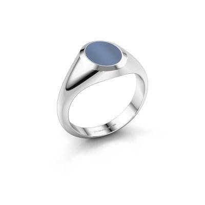Foto van Pinkring Herman 1 950 platina licht blauwe lagensteen 10x8 mm