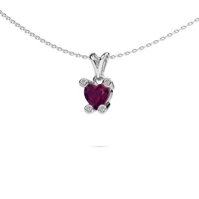 Foto van Ketting Cornelia Heart 585 witgoud rhodoliet 6 mm