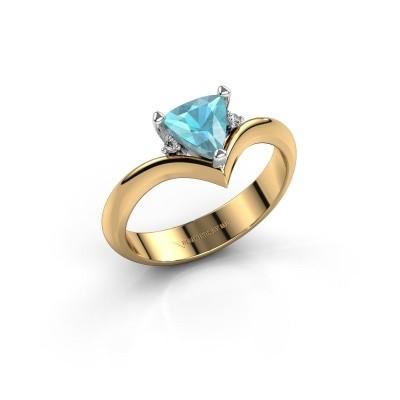 Foto van Ring Arlette 585 goud blauw topaas 7 mm