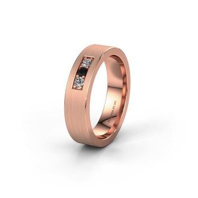 Wedding ring WH0110L15BM 375 rose gold black diamond ±5x2 mm