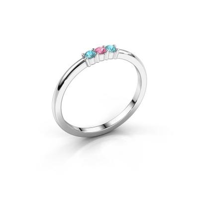 Verlovings ring Yasmin 3 950 platina roze saffier 2 mm