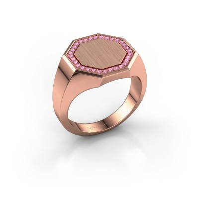 Men's ring Floris Octa 3 375 rose gold pink sapphire 1.2 mm