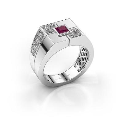 Men's ring Rogier 375 white gold rhodolite 4 mm