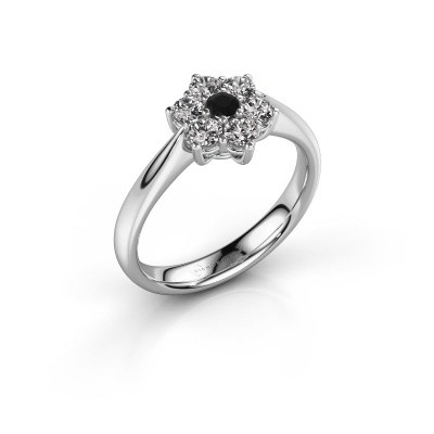 Promise ring Chantal 1 950 platina zwarte diamant 0.096 crt