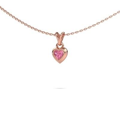 Foto van Hanger Charlotte Heart 375 rosé goud roze saffier 4 mm