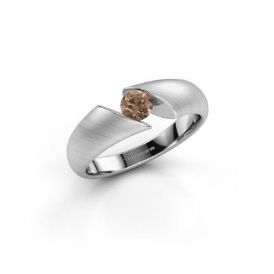 Foto van Ring Hojalien 1 950 platina bruine diamant 0.30 crt