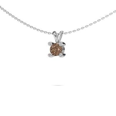 Foto van Hanger Fleur 950 platina bruine diamant 0.50 crt