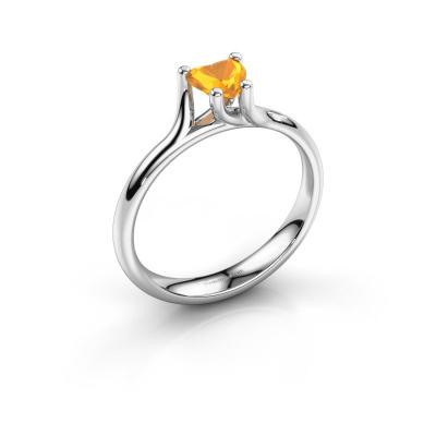 Engagement ring Dewi Heart 950 platinum citrin 5 mm