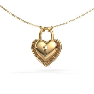 Halsketting Heartlock 585 goud bruine diamant 0.115 crt
