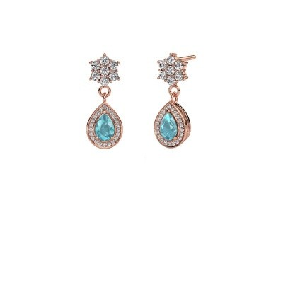 Picture of Drop earrings Era 585 rose gold blue topaz 6x4 mm