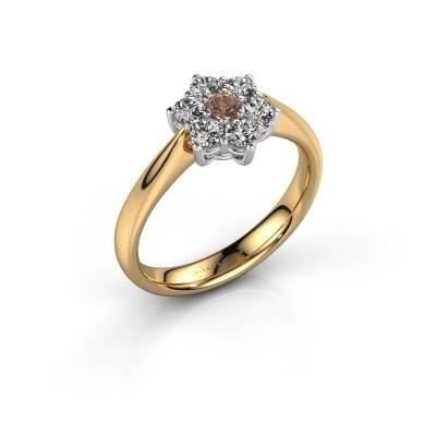 Promise ring Chantal 1 585 goud bruine diamant 0.08 crt
