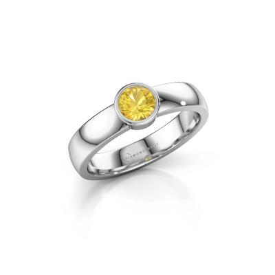 Ring Ise 1 950 platina gele saffier 4.7 mm