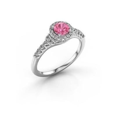 Foto van Verlovingsring Loralee 585 witgoud roze saffier 5 mm