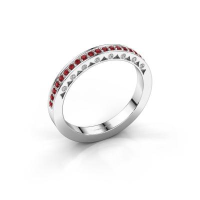 Ring Yasmine 585 witgoud robijn 1.2 mm