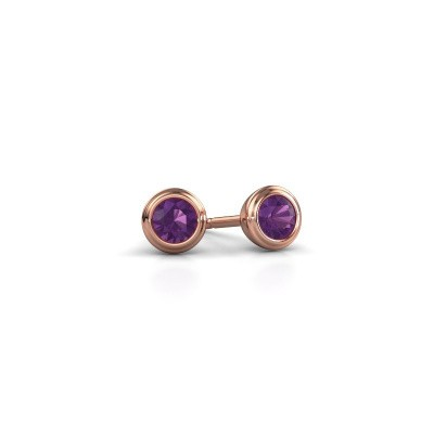 Picture of Stud earrings Shemika 375 rose gold amethyst 3.4 mm