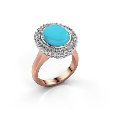 Foto van Ring Mila 585 rosé goud blauw topaas 12x10 mm