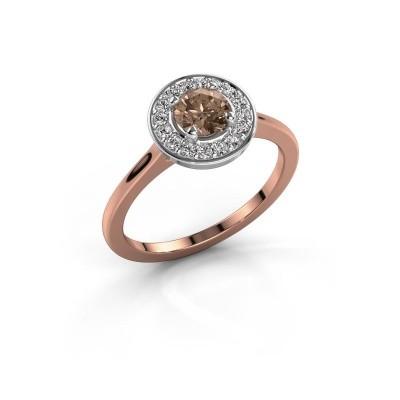 Ring Agaat 1 585 rosé goud bruine diamant 0.66 crt