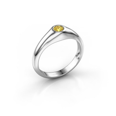 Picture of Pinky ring Thorben 950 platinum yellow sapphire 4 mm