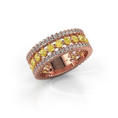 Verlovingsring Elizbeth 2 375 rosé goud gele saffier 2.4 mm