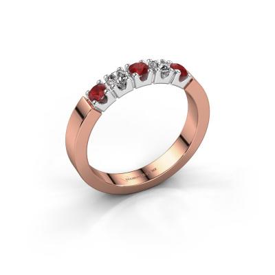 Engagement ring Dana 5 585 rose gold ruby 3 mm