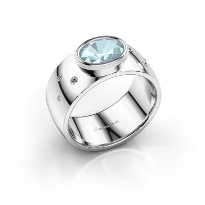 Ring Wilma 2 925 zilver aquamarijn 8x6 mm