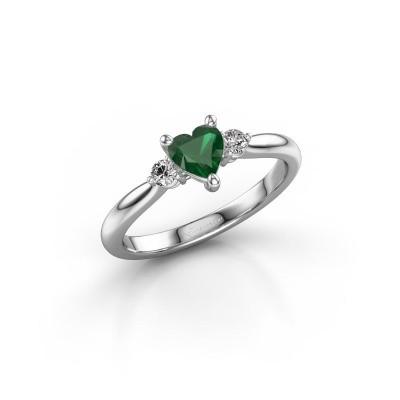 Foto van Verlovingsring Lieselot HRT 585 witgoud smaragd 5 mm