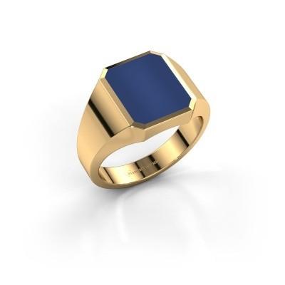 Foto van Zegelring Lars 2 375 goud lapis lazuli 12x10 mm