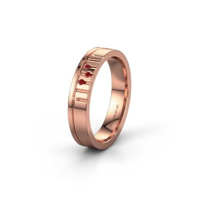 Friendship ring WH0332L14X 585 rose gold ruby ±4x1.5 mm