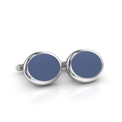 Foto van Manchetknopen Mario 585 witgoud blauw lagensteen 15x12 mm