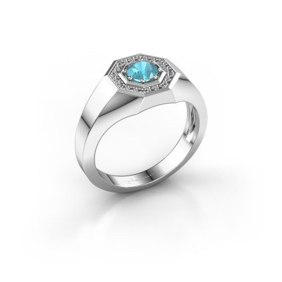 Picture of Men's ring Jaap 375 white gold blue topaz 5 mm