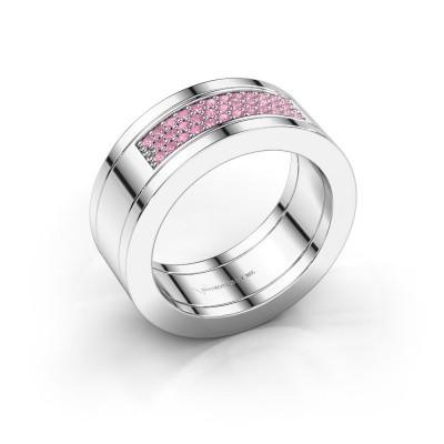 Foto van Ring Marita 1 950 platina roze saffier 1.1 mm