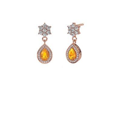 Drop earrings Era 585 rose gold citrin 6x4 mm