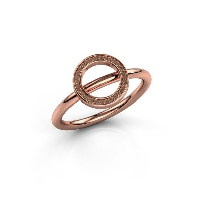 Ring Shape round large 375 rosé goud bruine diamant 0.075 crt
