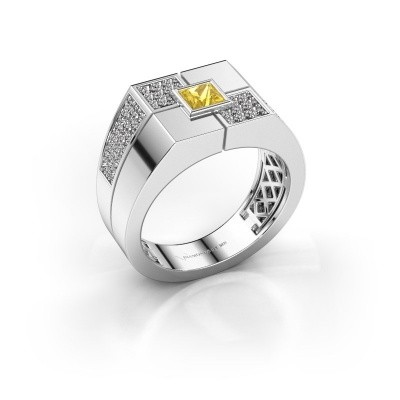 Men's ring Rogier 375 white gold yellow sapphire 4 mm