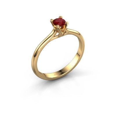 Photo de Bague de fiançailles Isa 1 375 or jaune rubis 4 mm