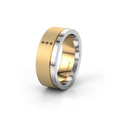 Trouwring WH0325L17APM 585 goud bruine diamant ±7x1.7 mm