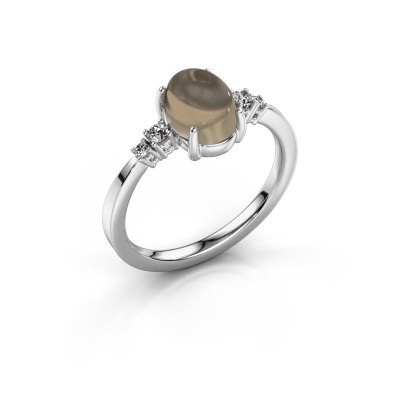 Ring Jelke 950 platinum smokey quartz 8x6 mm